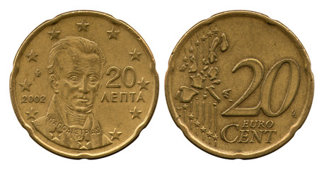 twenty euro-cents, United Europe, Greece, 2002