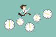 time management Concept, With Cartoon Businessman running on ti
