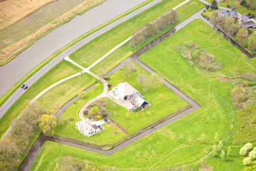 View at typical Dutch farm from above, The Netherlands