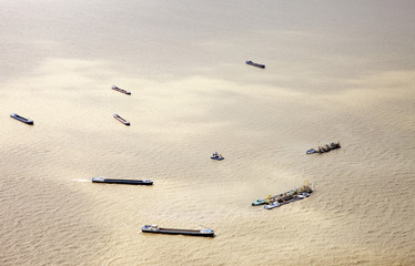 View at dredger ships from above