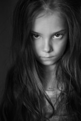 Mysterious little girl with long hair