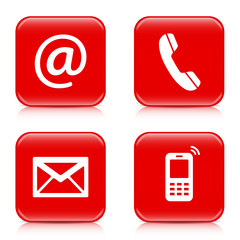 Set of red buttons icons – Contact Us