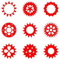 Set of different gears in red color, isolated
