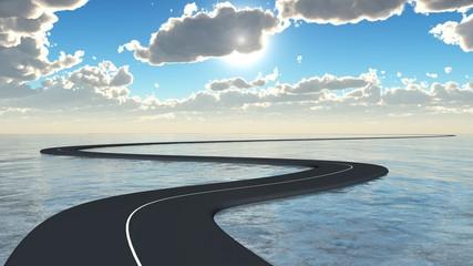 route courbe sur la mer