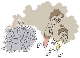 ゴミの匂いに苦しむ親子