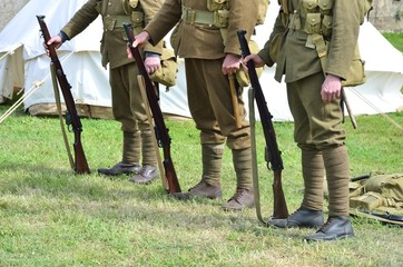 Row of soldiers standing with guns