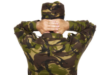soldier surrenders isolated on white background
