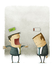 Happy and unhappy businessmen with batteries over the head