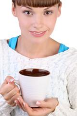 Красивая девушка с кружкой кофе