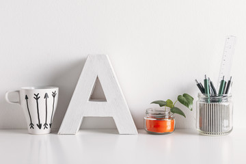 Diy office decoration on white background.