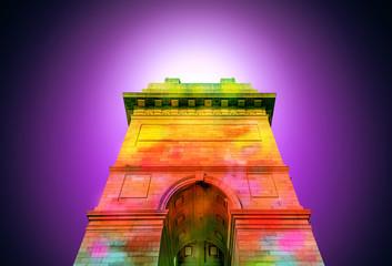 colorful abstract india gate at delhi