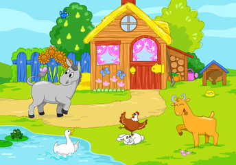 Funny animals and cartoon farm