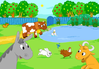 Cartoon funny cute animals in the country