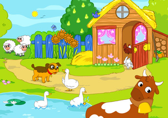 Cartoon funny animals in a farm