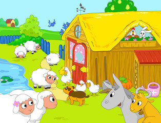 Farm animal playing together, illustration for kids