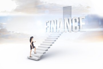 Finance against white steps leading to closed door