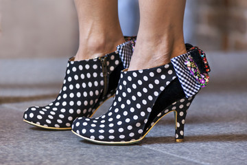 women shoes in dots