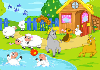 Cartoon farm animals playing together