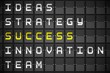 Success buzzwords on black mechanical board