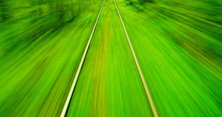 Motion blur view from o train on high speed