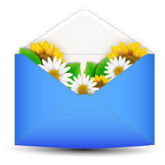Open envelope with flower