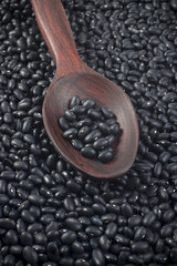 Black beans in red polished wooden spoon
