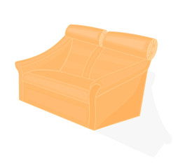 Beige velvet chair vector illustration