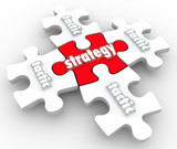 Strategy Tactics Plan Implementation Execution Puzzle Pieces poster