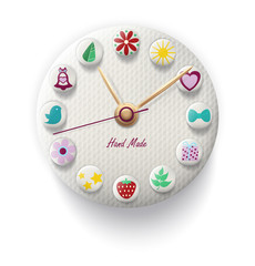 Clock Hand Made with colorful button. Vector illustration