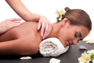 woman who does massage cosmetologist