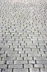 floor tiles of granite paving stones