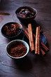 Cocoa, Cinnamon and Anise in Small Dishes