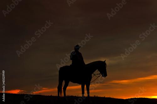 Foto op Plexiglas Paardrijden Einsamer Reiter im Sonnenuntergang