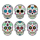 Mexican sugar skull, Dia de los Muertos icons set on white