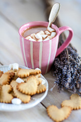 Cup of hot cocoa with marshmallows on the tray