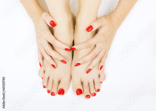 Poster, Tablou red manicure and pedicure