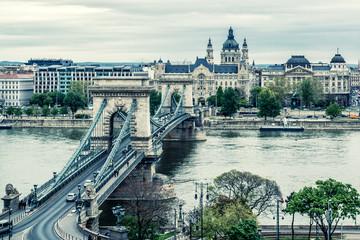 Chain Bridge. Budapest city. Hungary