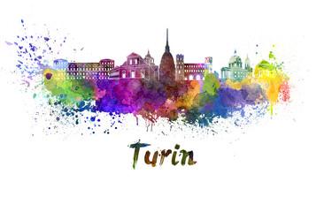 Turin skyline in watercolor
