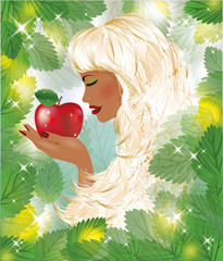 Eva and red apple, vector illustration