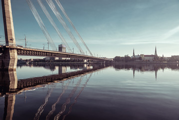 Cable-stayed bridge across Daugava river in Riga, Latvia