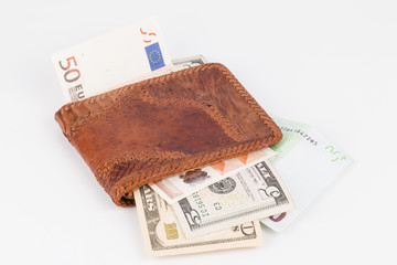 Purse with banknotes.