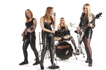 Portrait of female music band