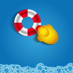 Soap bubble bath on blue background with duck and rescue wheel,
