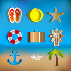 Paper Vector summer poster set made from papercut icons with abs