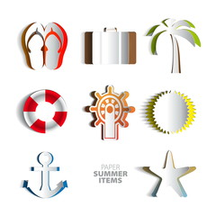 Paper Vector summer poster set made from papercut icons with whi
