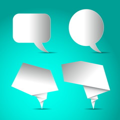 Set of Speech bubbles white blank, paper design on bright blue b