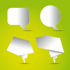 Set of Speech bubbles white blank, paper design on bright green