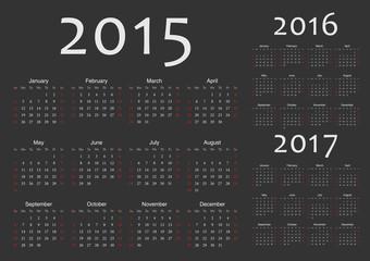 Set of european 2015, 2016, 2017 year vector calendars