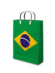 Shopping bag with Brazil flag. Retail business