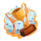 Winner cup. Sporting Achievement. Vector image poster